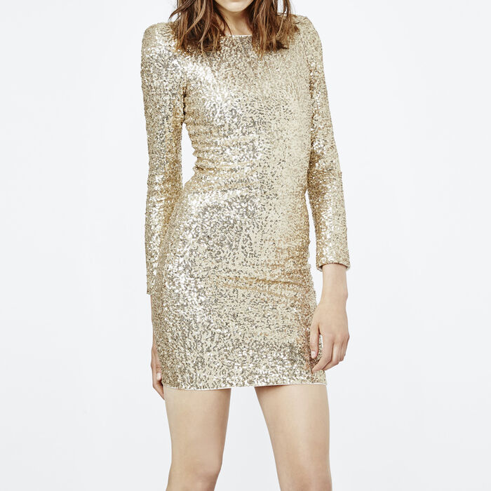 Close Fitting Dress With Golden Sequins