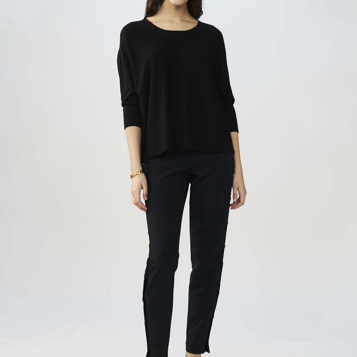 Oversized silk and cashmere sweater : Knitwear color Black 210