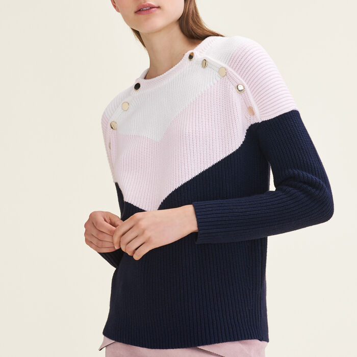 Tricolour jumper with press studs : Sweaters & Cardigans color Pink