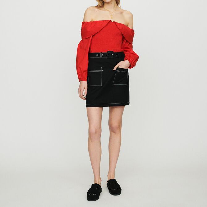 Short skirt with stitched detailing -  - MAJE