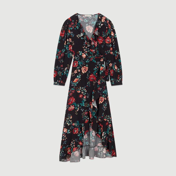 Long printed wrap dress : Dresses color Printed