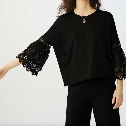 T-shirt with guipure lace sleeves : T-Shirts color Black 210