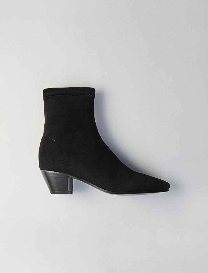 Stretch velvet goat leather booties -  - MAJE
