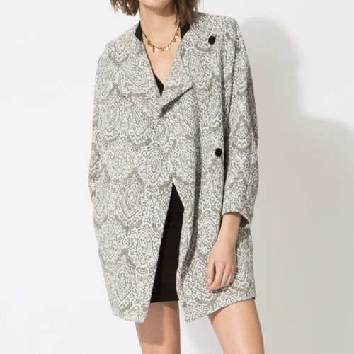 Straight jacquard knit coat : Coats color Jacquard