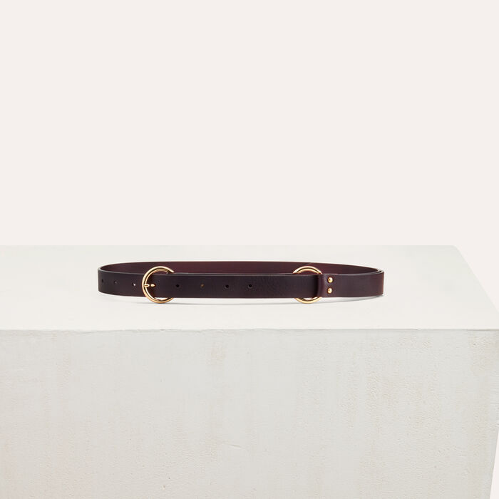 Belt with a mettalic ring : Belts color Burgundy