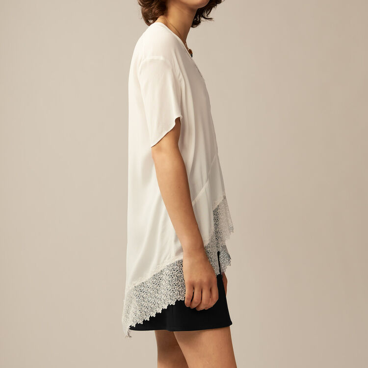 Oversized top with guipure lace : Tops color Ecru