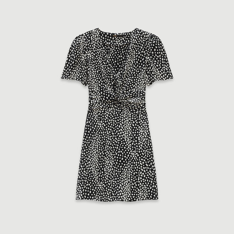 Gathered dress in printed jacquard : Dresses color Black