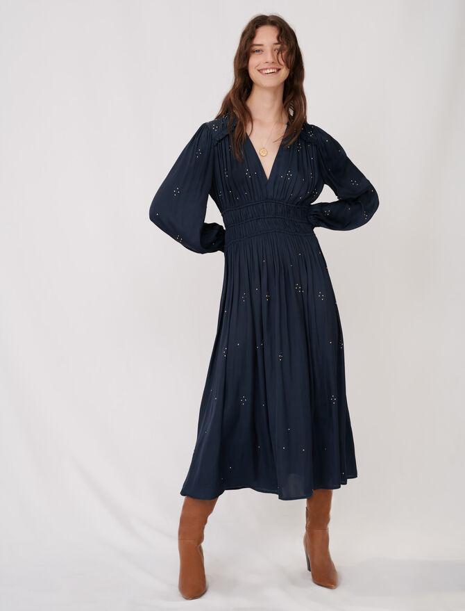 Long parachute dress with rhinestones - Dresses - MAJE
