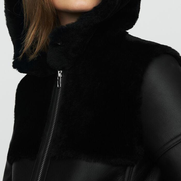 Long shearling coat with mixed material : Coats color Black 210