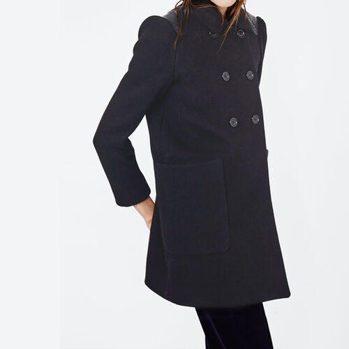 Coat with leather details : Coats color Night