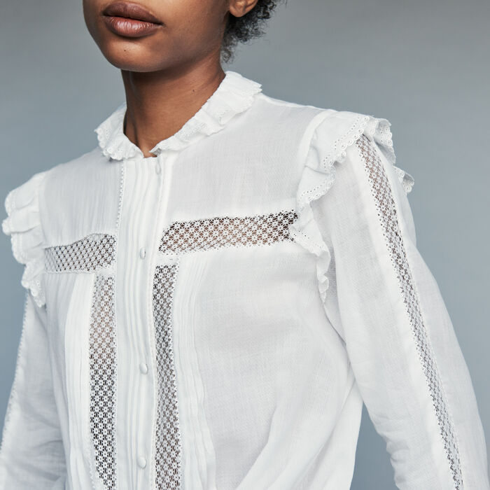 ae5e452bead CAMEO Blouse in cotton voile with lace - null - Maje.com