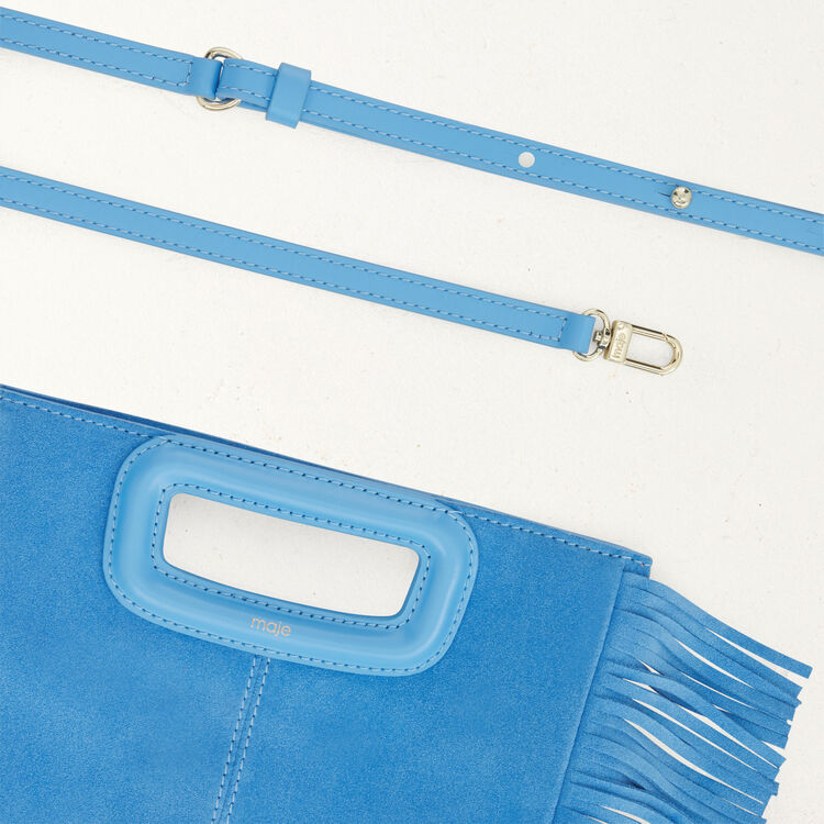 M bag with suede fringes : M bag color Blue
