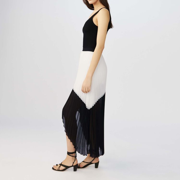 Long pleated bicolored dress : Dresses color Two-Tone
