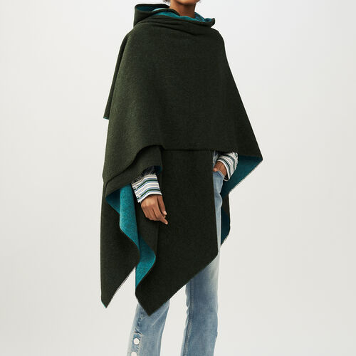 Reversible hooded poncho : Shawls & Ponchos color Khaki