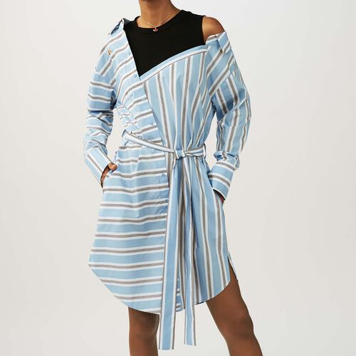 Oversized shirt dress in striped cotton : Dresses color Blue Sky
