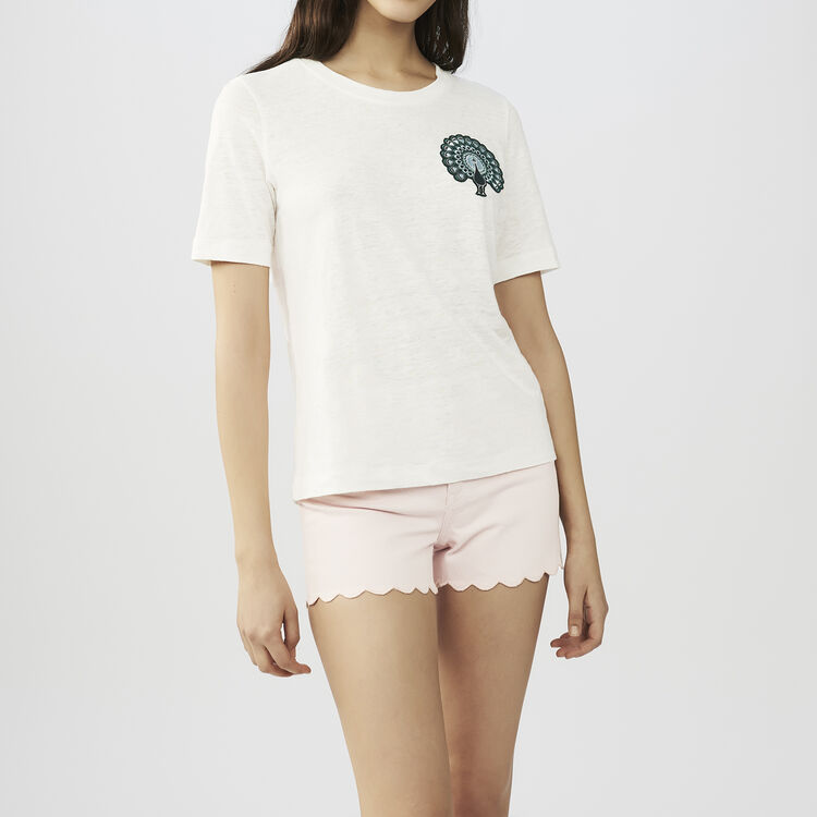 Linen t-shirt with embroidery : T-Shirts color ECRU