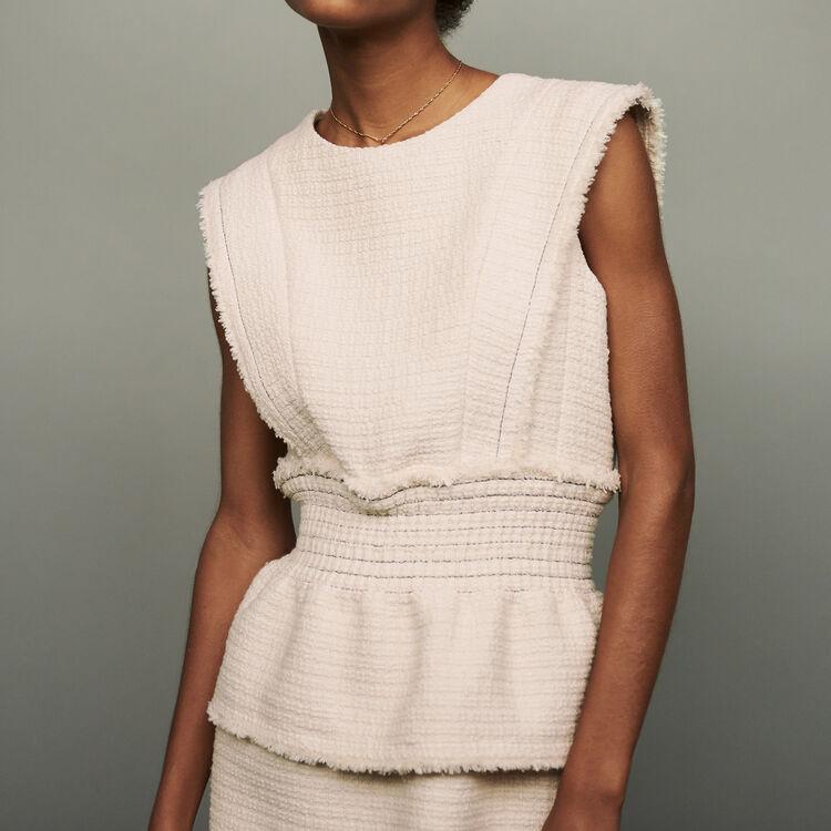 Sleeveless tweed dress : Dresses color Ecru