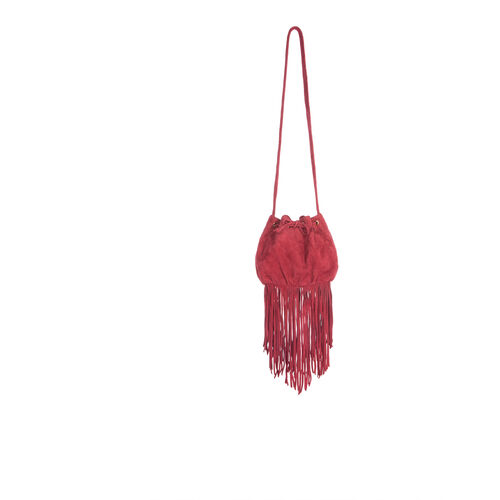 Small suede bucket bag with fringes : Accessories color Cherry