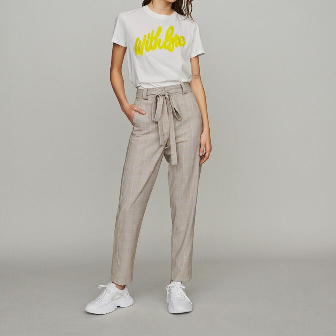 Belted checked trousers -  - MAJE