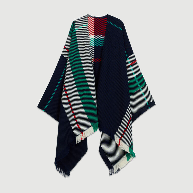 Jacquard poncho : New collection color Blue