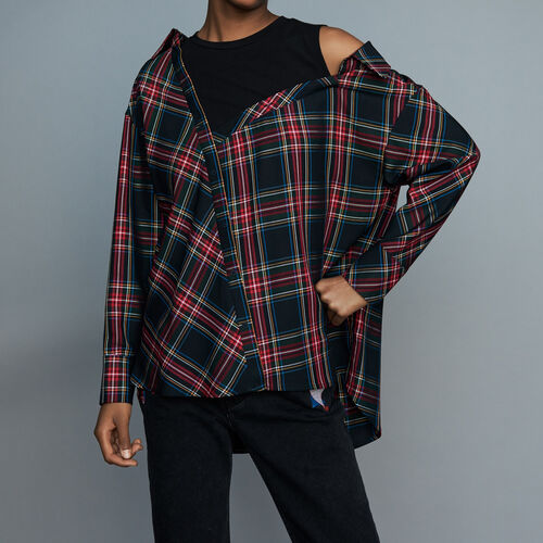Deconstructured plaid skirt : Ready to wear color CARREAUX