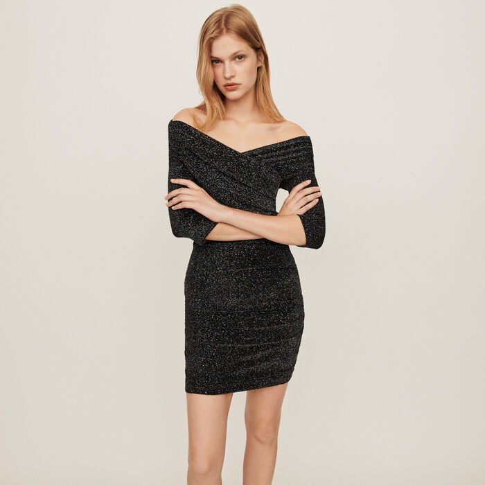 Stretch draped dress in Lurex : Dresses color Multico