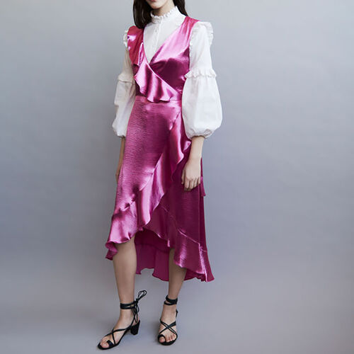 Ruffle satin evening dress : Dresses color Fuschia