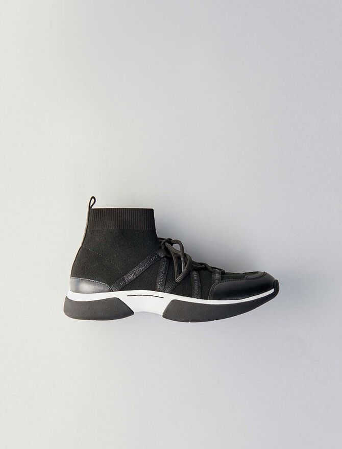 High-top sneakers in stretch fabric - Sneakers - MAJE