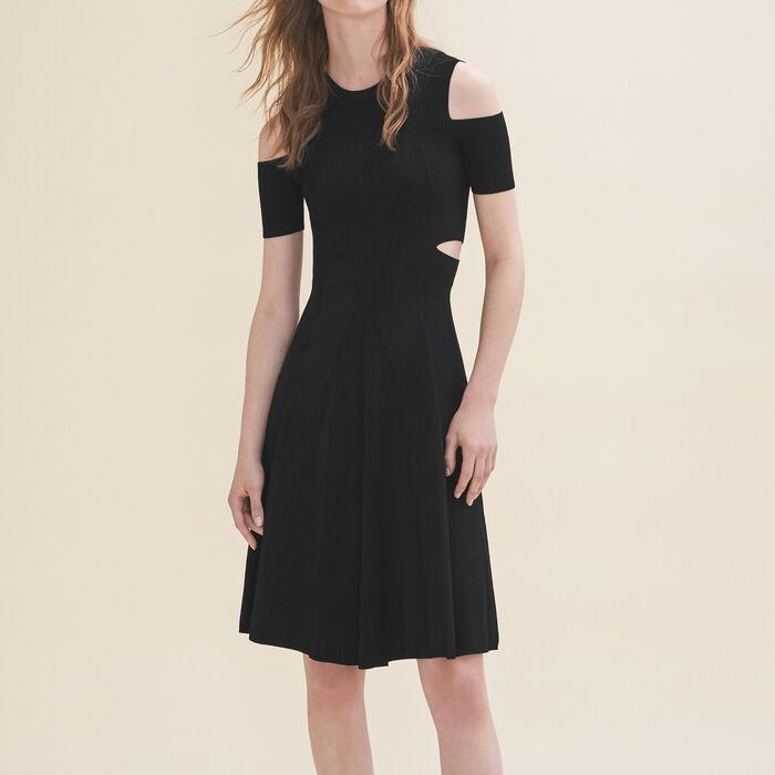 Knitted off-the-shoulder dress : Dresses color Black 210