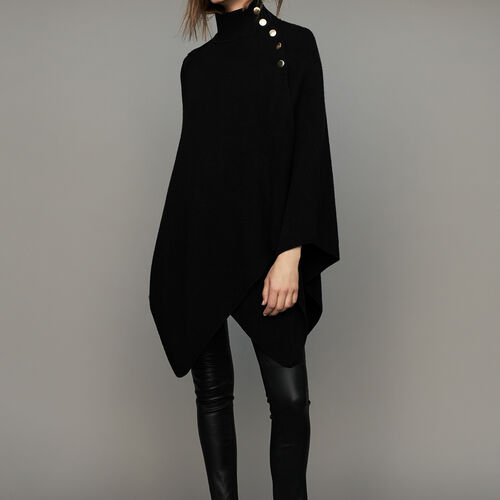 Funnel collar poncho in wool blend : Ready to wear color Black 210