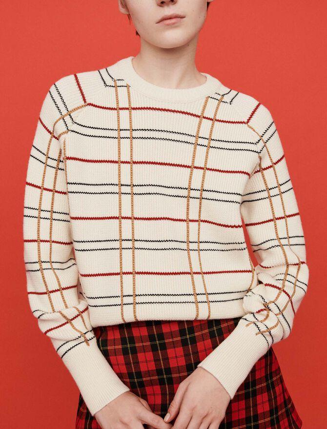 Plaid jacquard sweater -  - MAJE