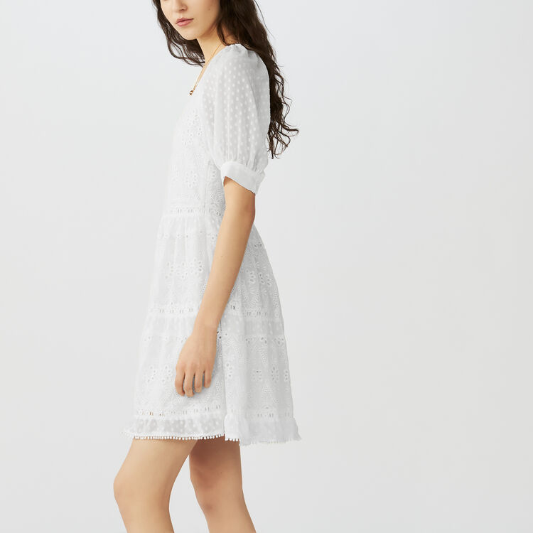 Short embroidered dress : Dresses color ECRU