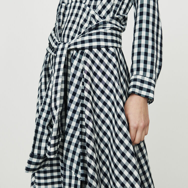 Midi shirt dress in vichy print : Dresses color CARREAUX