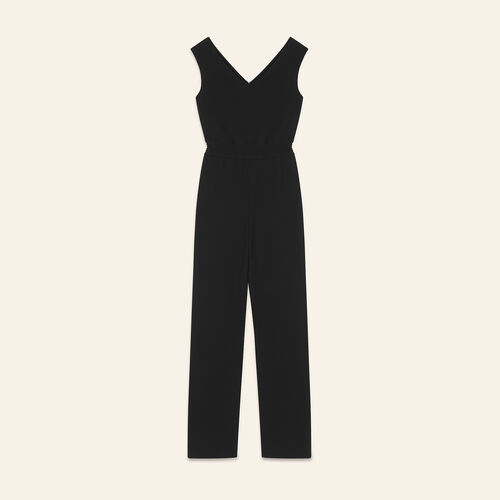 Sleeveless crêpe jumpsuit : Trousers color Black 210