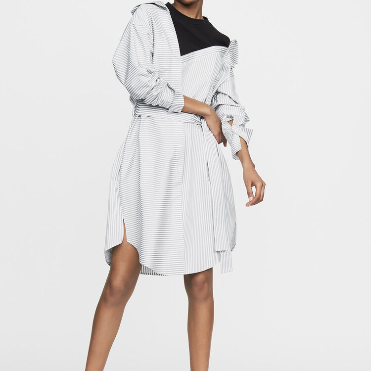 Destructured striped shirt dress : Dresses color Stripe