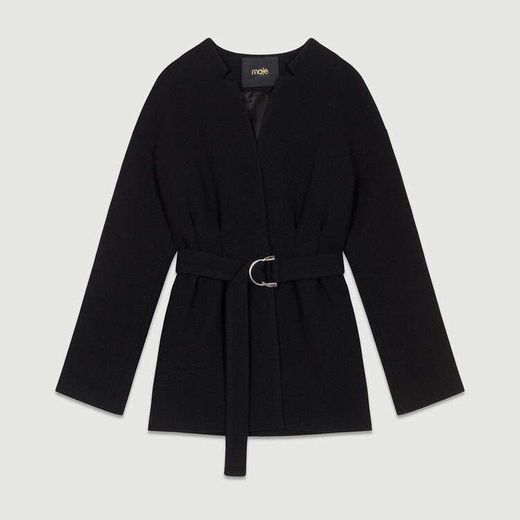 Cropped belted coat : Coats color Black 210