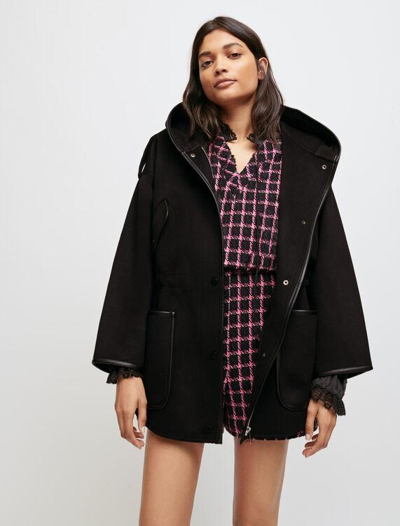 Oversized, double face hooded coat - Coats & Jackets - MAJE