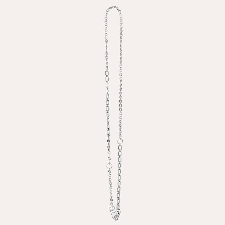Silver detachable chain for handbag : Straps color Silver