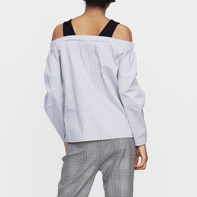 Cold-shoulder striped cotton top : New Collection color Stripe