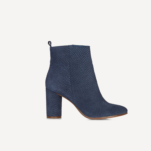 Leather ankle boots with round heels : Accessories color Blue