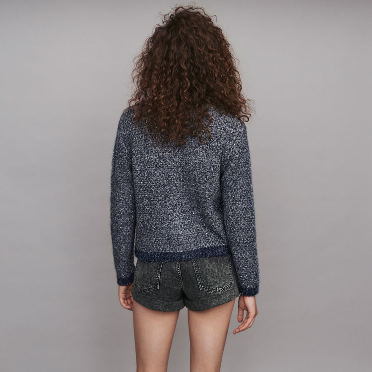 Fancy Lurex knit cardigan : Pullovers & Cardigans color Blue