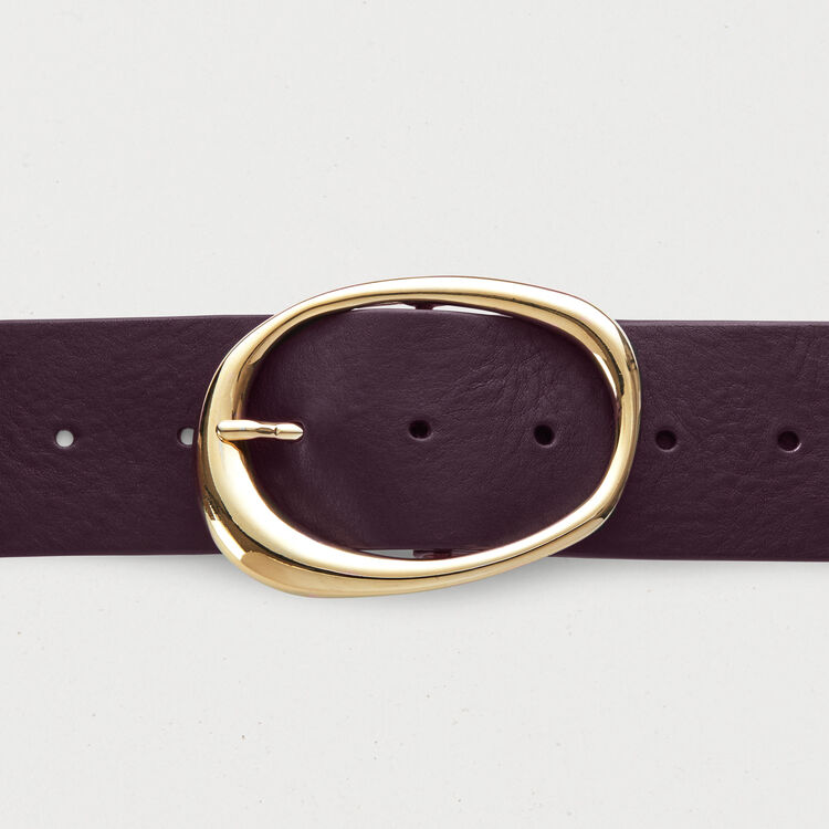Wide leather belt : Belts color Burgundy