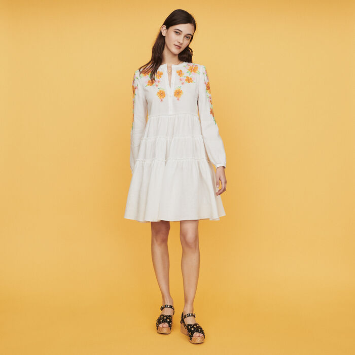Dress in linen with embroidery : Dresses color White