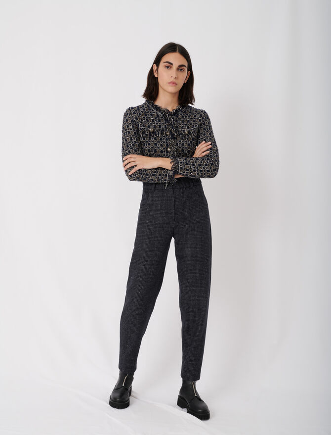 Checked trousers in recycled wool - tout - MAJE