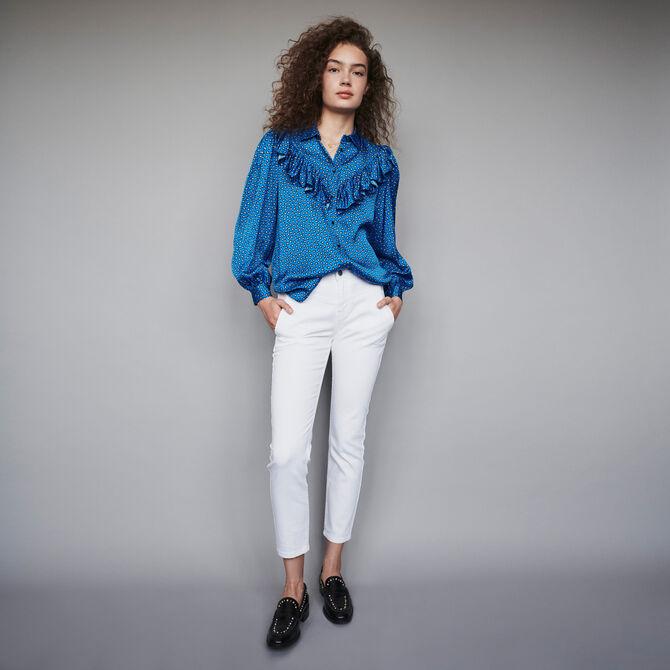 Printed silk ruffled shirt -  - MAJE