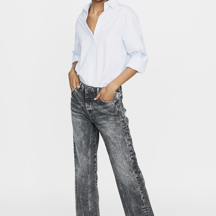 Wide leg distressed jeans : New Collection color Grey