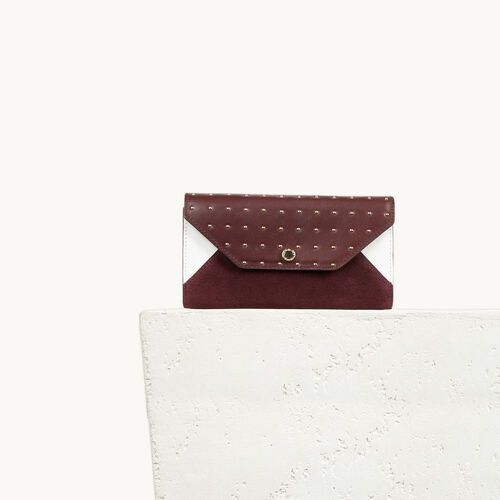 Multicoloured studded leather clutch bag : Accessories color Multi-Coloured