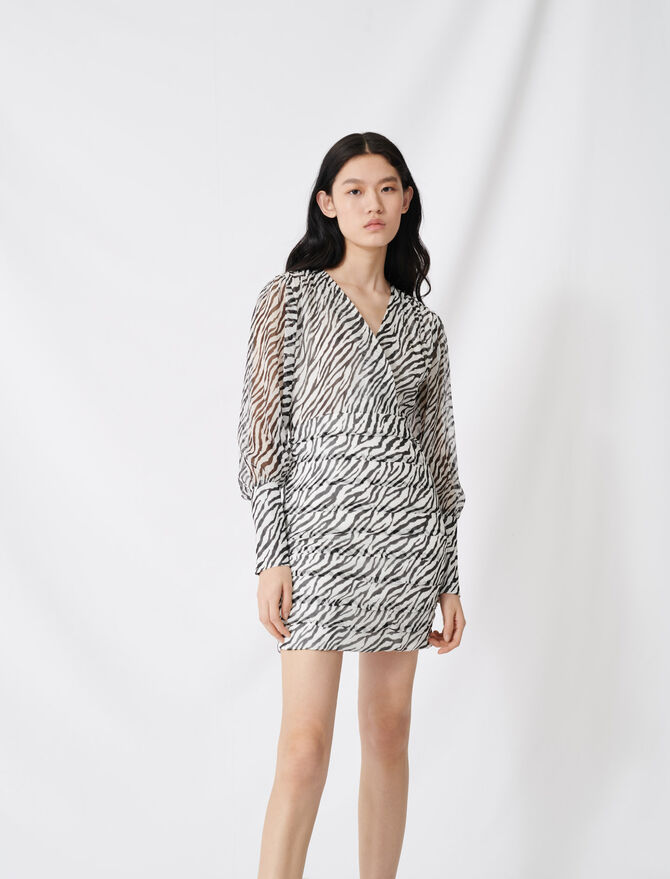 Shirred printed muslin dress - Dresses - MAJE