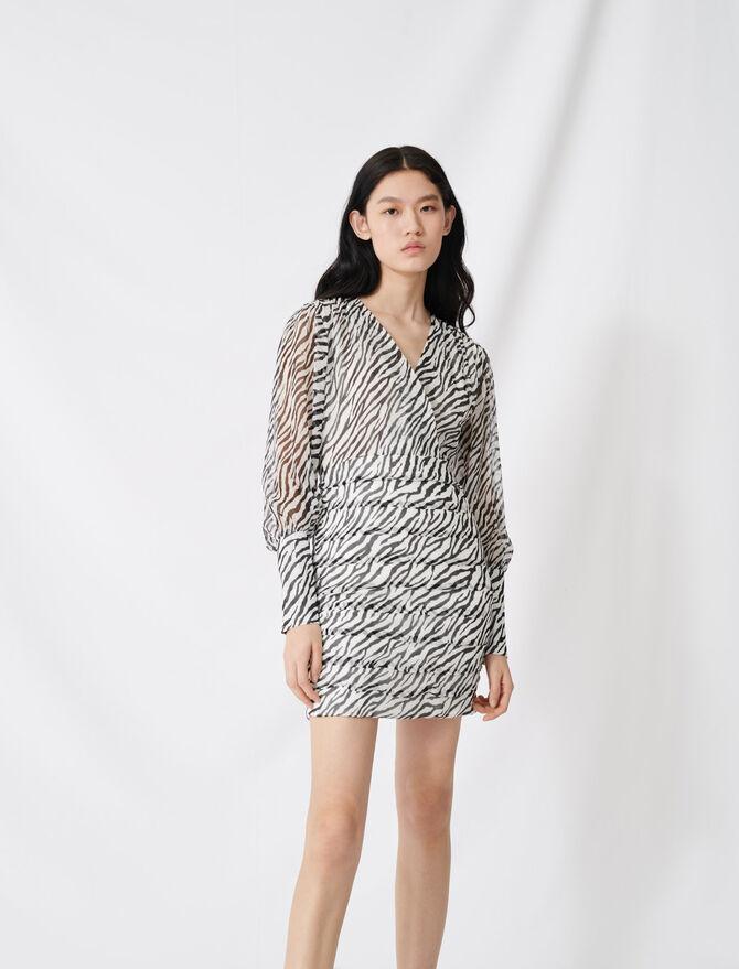 Shirred printed muslin dress -  - MAJE