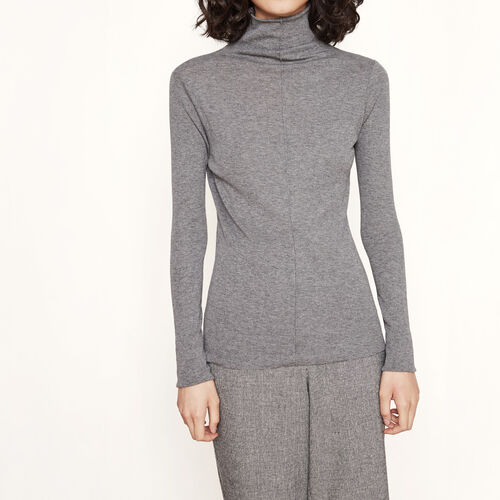 Roll-neck T-shirt : T-shirts color Grey